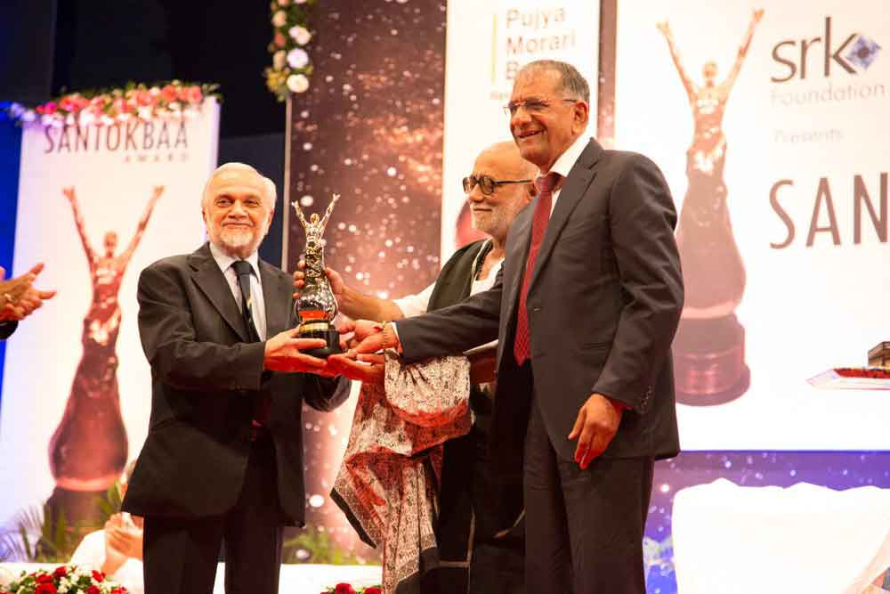 Lord Bhiku Parekh is presented with the prestigious Santokbaa Award – 2013